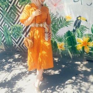 Vintage puff sleeve midi dress